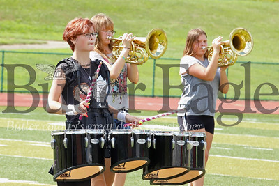 Emily Ehrat (CHECK SPELLING) marches in rythm during Karns City band practice Tuesday. Seb Foltz/Butler Eagle 08/20/19