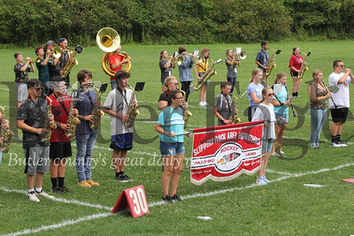 Slippery Rock High School marching band practicing Wednesday. Seb Foltz/Butler Eagle 082119