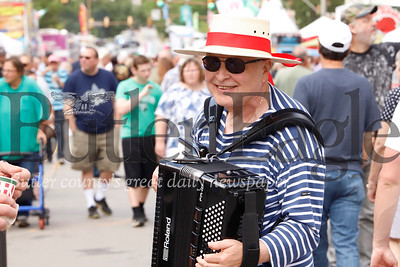 Fresh from Pittsburgh's Italian Festival, Bloomfield resident Hank Edwardo made the trip up to Butler to regale Butler Italian Festival goers with Italian-themed accordion music Saturday. Edwardo said he comes up to yearly for the event. Seb Foltz/Butler Eagle