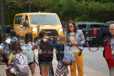Photo by J.W. Johnson Jr. Haine Middle School Principal Cassandra Doggrell greets students on the first day of school Tuesday.