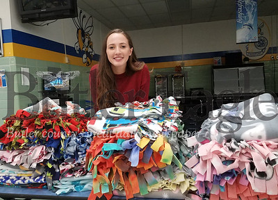 "Kaitlyn Ritter organized fellow students into making ""comfort"" blankets to be donated to Project Linus"