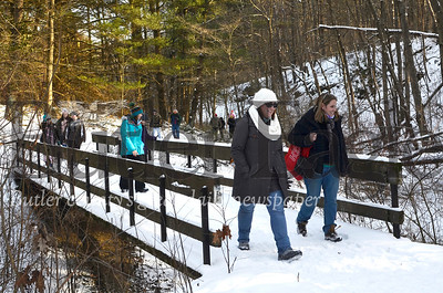 About 90 people hiked a snow-covered trail at Moraine State Park Saturday in celebration of Groundhog Day. Tanner Cole/Butler Eagle