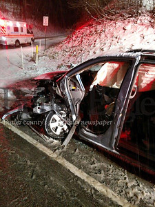 bUnionville VFD photoUnionville volunteer firefighters had to extricate the front driver's side door of a minivan to rescue a trapped driver following a two- vehicle, head-on collision at Route 8 and McCandless Road in Center Township. Both drivers were taken to Butler Memorial Hospital with injuries not believed to be serious.