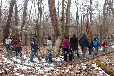 A tour group marches along a trail at Jennings Environmental Education Center Saturday morning while learning the story of a young George Washington journeyed through the area in 1753. Tanner Cole/Butler Eagle