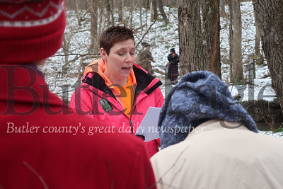 Colleen Chamberlain, a volunteer for the Wampum Chapter of the North Country Trail Association, leads a group on a history tour at Jennings Environmental Education Center. Tanner Cole/Butler Eagle