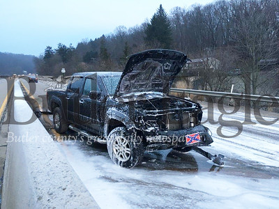 No one was injured after a pickup truck caught fire Friday morning following a one-vehicle wreck on Route 422 in Butler Township.