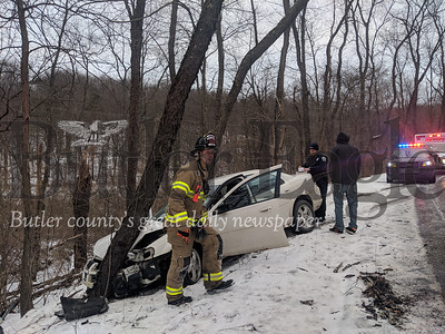 A motorist was injured after a vehicle slid off Kaufman Road and into a tree in Jackson Township Tuesday morning. Responders said icy road conditions likely contributed to the crash. Traffic on Kaufman Road is slowed between Franklin Road and Pattison Street Extension, and motorists should expect delays. EMS evaluated the injured motorist though injuries were not expected to be severe.