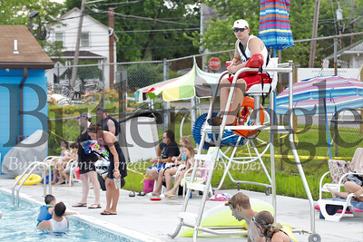 Jackson Humes, 17, of Evans City scans the  EDCO Park pool from lifeguard chair. Seb Foltz/Butler Eagle
