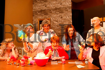 Left to right: Davlin Smith as 'Honey'; Tammy Erkman as 'Patsy'; Cindy West as 'Minnie'; Robin Kriley as 'Burnice'; Ariana O'Donnell as 'Alison'; Paula Floyd as 'Vern' and Eric Snyder as 'Sam.'  Seb Foltz/Butler Eagle