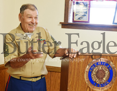 Harold Aughton/Butler Eagle: Sam Zurzolo, Butler Twp. Commissioner, makes a brief speech after being presented with the 16th District Community Champion Award Wednesday, July 3 at the American Legion Post 778.