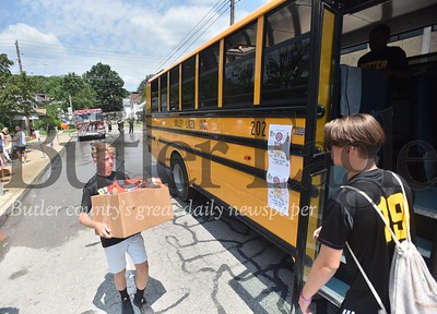57128 ButlerÕs first annual Stuff A Bus to benefit Butler School DistrictÕs KidÕs Weekend Backpack Program on North Washington Street between the YMCA and Emily Brittain Elementary School.