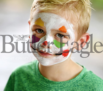Harold Aughton/Butler Eagle: Jude Trautman, 5, of Butler, had his face painted during the carnival held at Rotary Park, Friday, June 28