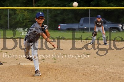 Nicco Baggetta of the Butler 8-10 year-old little league W. Ricks team fires a pitch against the Center Township Nationals Tuesday, July 2. Seb Foltz Butler Eagle