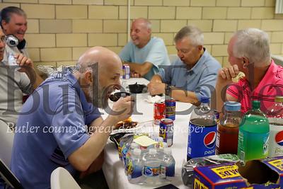 Jim Basalyga Jr. tastes a chili cookoff submission. Seb Foltz/Butler Eagle
