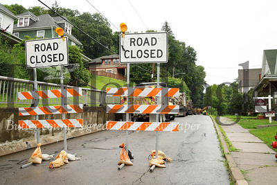 PennDOT construction crews began work on Mercer Rd.  in  Butler Monday (near Memorial Park). An official onsite said the work is slated to be complete by Friday, Aug. 2. Crews will be reenforcing the slope below the road and above Memorial Park.  Seb Foltz/Butler Eagle 7/22/19