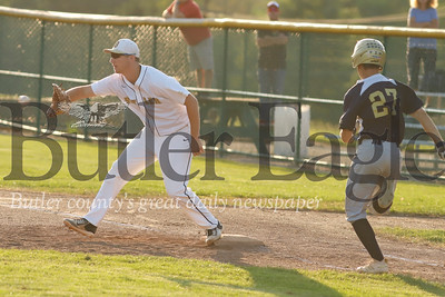 Colby Anderson makes an out from first base. Seb Foltz/Butler Eagle (Not for Web)