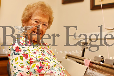 At 98 -- soon to be 99-- Eleanor Hendler still keeps busy knitting. Seb Foltz/Butler Eagle 07/30/19