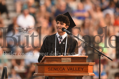 Seneca Valley class of 2019 valedictorian Rishin K. Sharma delivers his speech at Friday's outdoor ceremony. Seb Foltz/Butler Eagle