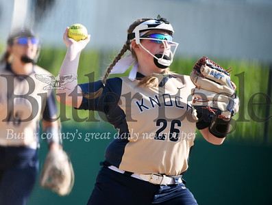 Harold Aughton/Butler Ealge: Knoch's Bailey Rickenbrode prepares to make a play at first during last night's first round of the PIAA playoffs. Knock lost to Grove City High School 4-0.