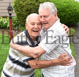 Harold Aughton/Butler Eagle: Donald Hickey, 83, of Butler meets his brother, Bill Krizen, 84, of Florida for only the second time since being separated at birth.