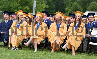 Harold Aughton/Butler Eagle: Knoch graduates react to fellow student Nicholas Pawlowski's speech.