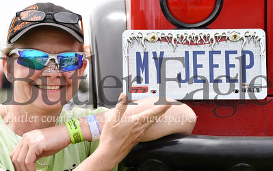 Harold Aughton/Butler Eagle: Gina Stewart of New Franklin, Ohio, attended for the first time the 9th Annual Bantham Jeep Heritage Fesitval Saturday, June 8, in her 1990 YJ jeep.
