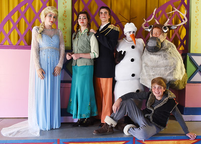 Harold Aughton/Butler Eagle: The cast of Frozen: (Left - right) Sarah Benkart, as Elsa; Kendra Shidemantle, as Anna; Camden Rockcastle, as Hans; Than Archer, as Olaf; Jef kellar, as the Reindeer; and Isaac Hixon, as Kristoff.
