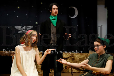 With the story teller (Luke Pfeifer) narrating, Wendy (Naomi Eberle) reminds Peter Pan(Shadowlynn Reges_Pollarine) to take his medicine. Seb Foltz/Butler Eagle