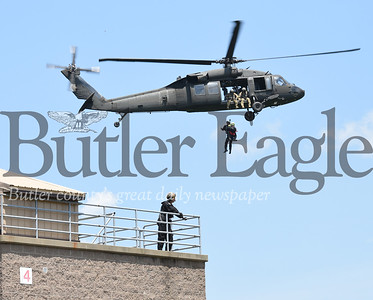 "Harold Aughton/Butler Eagle: The Pennsylvania Helicopter Aquatic Rescue Team conducted a ""Category 5 Hurricane Jessica"" exercise on BC3's main campus, Thursday, June 27."
