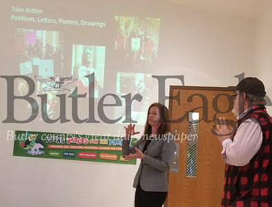 Young Voices for the Planet workshop at Lutherlyn. Two local environmentalists discussed their take of the environmental issues facing Butler County.On the left is Patrice Tomcik of Moms Clean Air Force. On the right is Michael Bagdes-Canning of Marcellus Oitreach Butler.