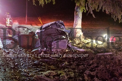 A 35-year-old man, who was trapped in his car after it veered off Mars Evans City Road, was flown by medical helicopter Sunday night to a nearby hospital for treatment. The driver, a Callery resident, was traveling north about 9:15 p.m. in the 1300 block of Mars Evans City Road when he appeared to lose control, Adams Township police said. Nathan Bottiger/Butler Eagle
