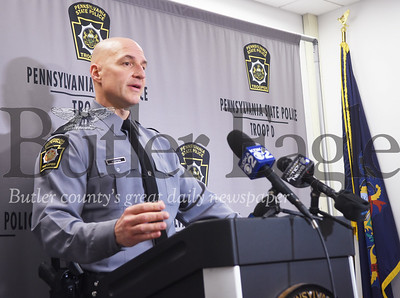 State Trooper Dan Kesten speaks to media about an investigation into the killing of Maximillian W. Halterman of Oakland Township. Tanner Cole/Butler Eagle