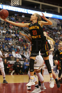 North Catholic's #21 Kylee Lewandowski  pulls down this rebound in the first half.