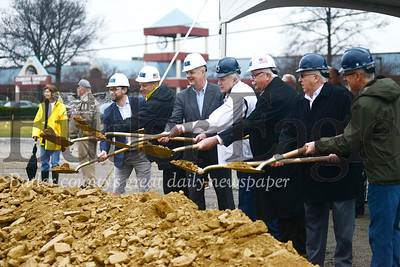 Photos by Alexandria Mansfield.,,CUTLINE: A groundbreaking ceremony commemorates construction on Charter Homes' mixed-use development, Meeder, in Cranberry Township on Friday morning.