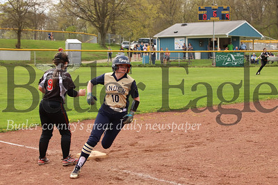 Knoch's #10 rounds third on her way to score. Seb Foltz/Butler Eagle
