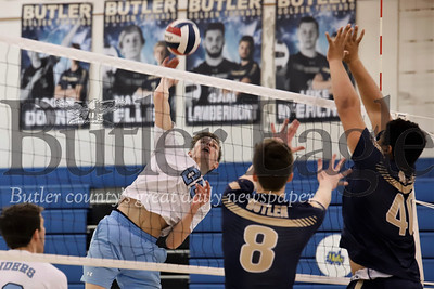 Seneca's Luke Trzeciak goes for a spike. Seb Foltz/Butler Eagle