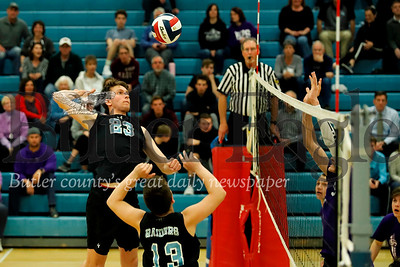 Kyle Montrose(#23) goes for a spike off a Caleb Dawson (#13) set in Seneca's win over Baldwin. Seb Foltz/Butler Eagle