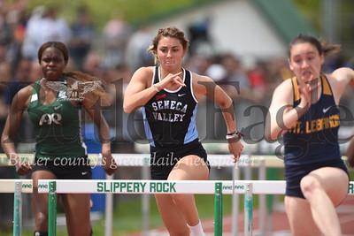 Lauren Chappell in 100 meter hurdles. Seb Foltz/Butler Eagle