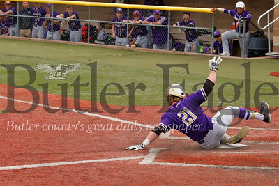 Karns City's Tyler Yough slides home in the Gremlins playoff win over Redbank. Seb Foltz/Butler Eagle