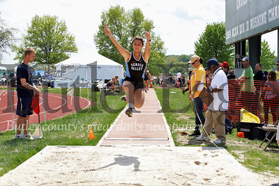 Seneca's Lauren Chappell in long jump. Seb Foltz/Butler Eagle