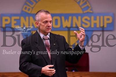 State Representative Daryl Metcalf hosts a town hall at the Penn Township Municipal Building Wednesday night. Seb Foltz/Butler Eagle