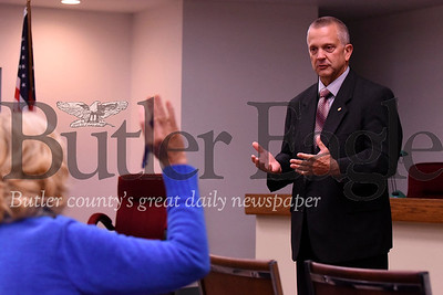 State Representative Daryl Metcalf fields a question at his town hall at the Penn Township Municipal Building Wednesday night. Seb Foltz/Butler Eagle