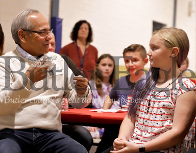 U.S. Army Veteran Gabe Ciafre answers a guestion from Rylee Gilmore during a Q&A with veterans at South Butler Intermediate Elementary School's veterans for breakfast Friday. Seb Foltz/Butler Eagle