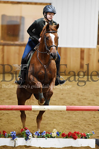 Harold Aughton/Butler Eagle: Kendall Myers, 13, of Saxonburg practices jumps with her horse, Roxy, at Legacy Pines.