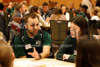 Zach Probst discusses his program and approach with Sarah Tooer and other students at breakout session of SRU interdisciplinary event. Seb Foltz/Butler Eagle