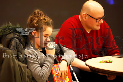 (Bottiger story) Cassie Bruno, 14, blind autistic daughter of Jennifer Bruno who presented at SRU event.  Cassie Bruno sits next to the stage while her mom presents to SRU students. Seb Foltz/Butler Eagle