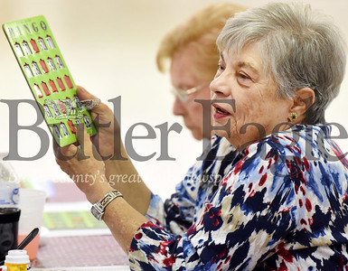 Harold Aughton/Butler Eagle: Sheran Loidlaw of Saxonburg calls back her number after winning a round of bingo at the Southeast Senior Center, Thurs., Nov. 14, 2019.