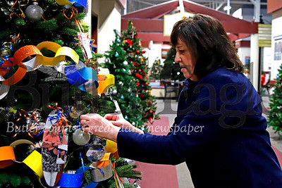 Peggy Pievach, marketing manager for Greater Pittsburgh area Easter Seals school programs, puts the final ornament on the Easter Seals tree at the Cranberry Township Municipal Building Wednesday. A number of organizations have decorated trees lining the halls of the building's common area with a large yet-to-be decorated tree in the center of the space. Seb Foltz/Butler Eagle