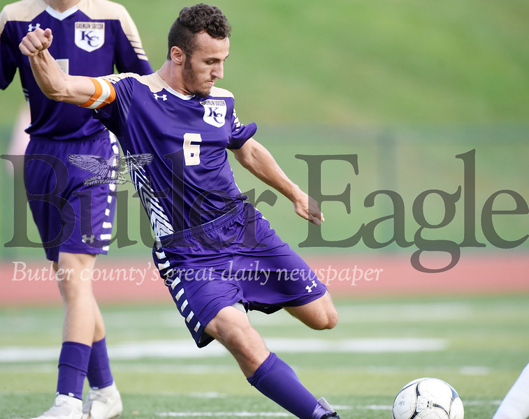 Harold Aughton/Butler Eagle: Sophmore Dakota King makes his third goal during Karns City's 6-3 victory over Armstrong.