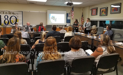 """Mars TNG"" : ""The Nutrition Group representatives Jodee Raybuck and Bridget Buyna (both in front right corner) presented last year's higher-than-expected sales to Mars School Board Tuesday night."" Photo by Samantha Beal."
